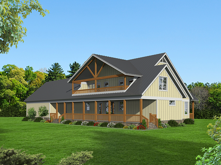 Contemporary Country Southern House Plan 51477 Rear Elevation