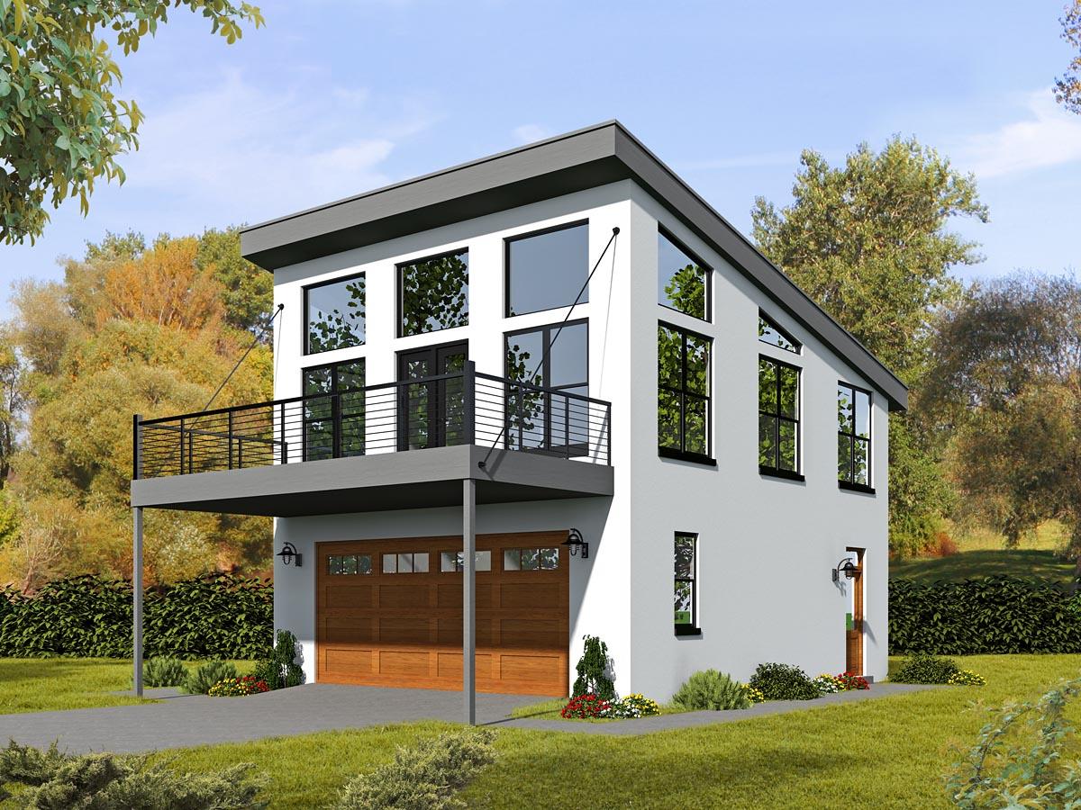 Modern Style 2 Car Garage Apartment Plan 51479