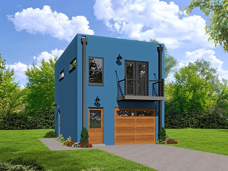 Modern Garage-Living Plan 51488 with 1 Beds, 1 Baths, 1 Car Garage Elevation