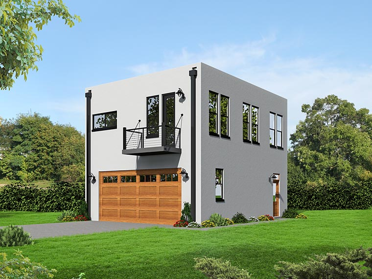 Modern 2 Car Garage Apartment Plan 51489 with 2 Beds, 1 Baths Elevation