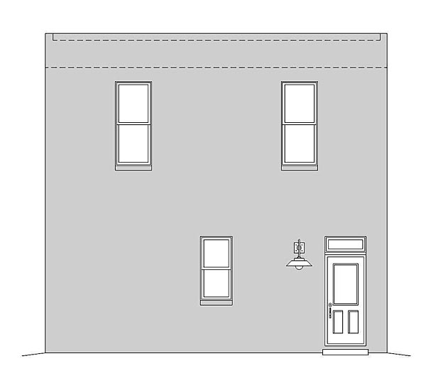 Modern 2 Car Garage Apartment Plan 51489 with 2 Beds, 1 Baths Rear Elevation