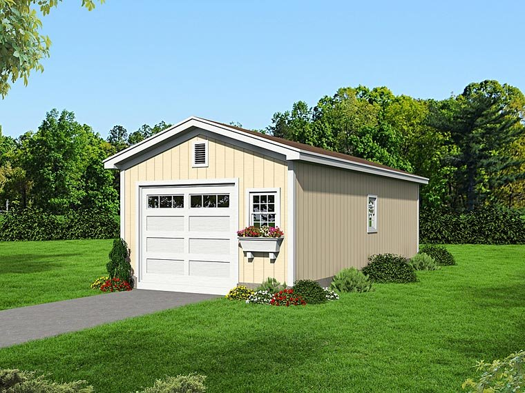Traditional 1 Car Garage Plan 51502 Elevation