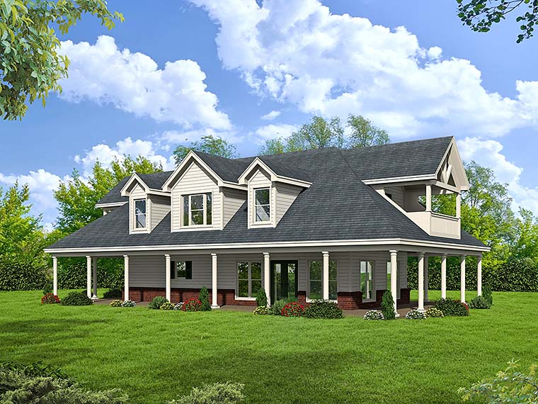 Country, Southern, Traditional House Plan 51511 with 1 Beds, 2 Baths Front Elevation