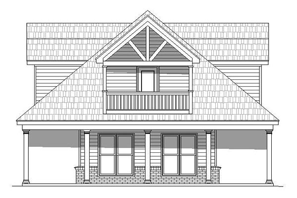 Country, Southern, Traditional House Plan 51511 with 1 Beds, 2 Baths Picture 2