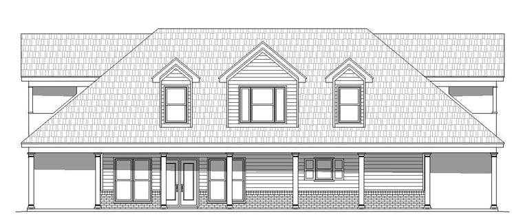 Country Southern Traditional House Plan 51511 Rear Elevation