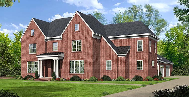 European , Traditional House Plan 51514 with 4 Beds, 4 Baths, 4 Car Garage Elevation