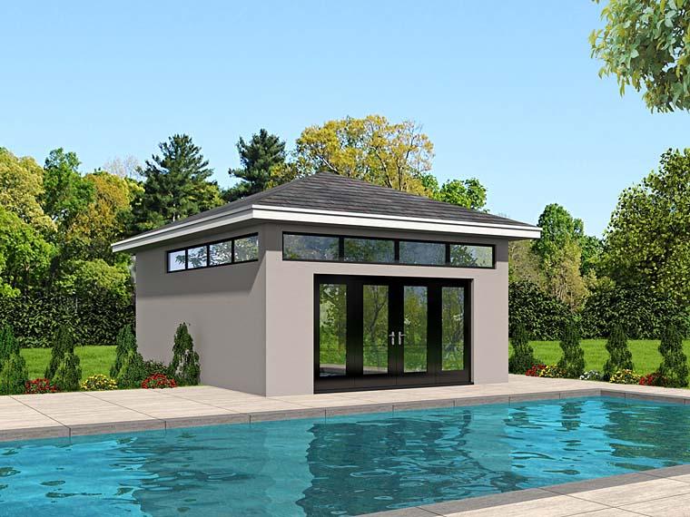 Modern Poolhouse Plan 51517 Elevation