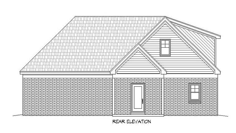 House Plan 51520 | Cottage Southern Traditional Style Plan with 2367 Sq Ft, 3 Bed, 2 Bath, 2 Car Garage Rear Elevation
