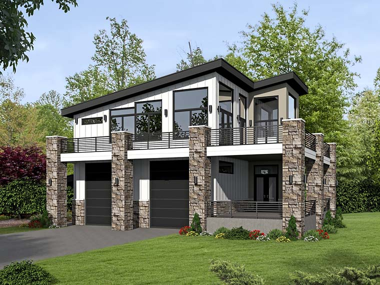 Contemporary, Modern 2 Car Garage Apartment Plan 51522 with 1 Beds, 1 Baths Elevation