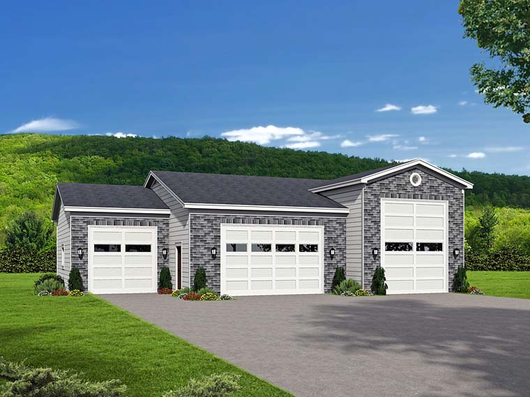 Traditional 4 Car Garage Plan 51526, RV Storage Elevation