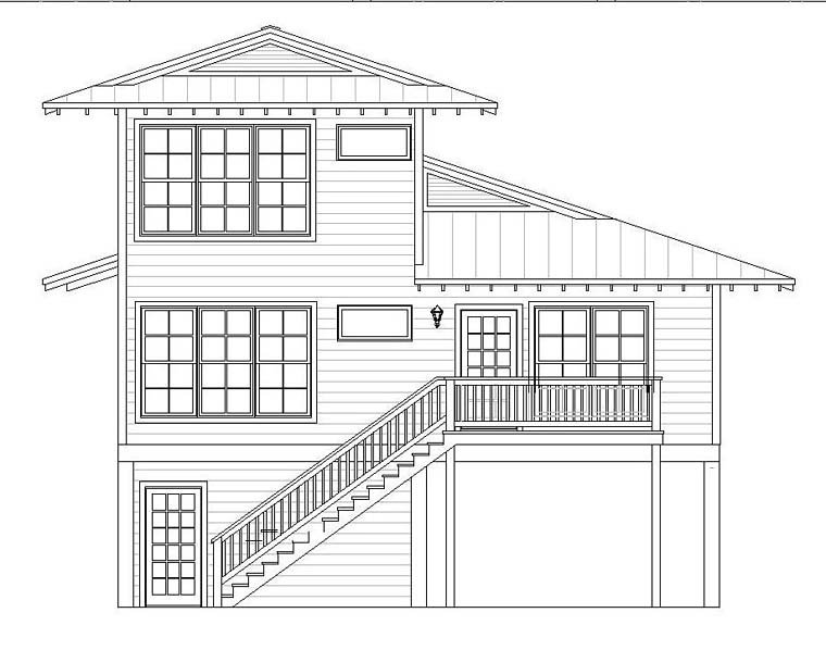 Coastal House Plan 51528 Rear Elevation