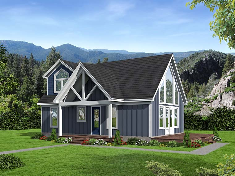 Contemporary , Traditional House Plan 51531 with 3 Beds, 2 Baths Elevation