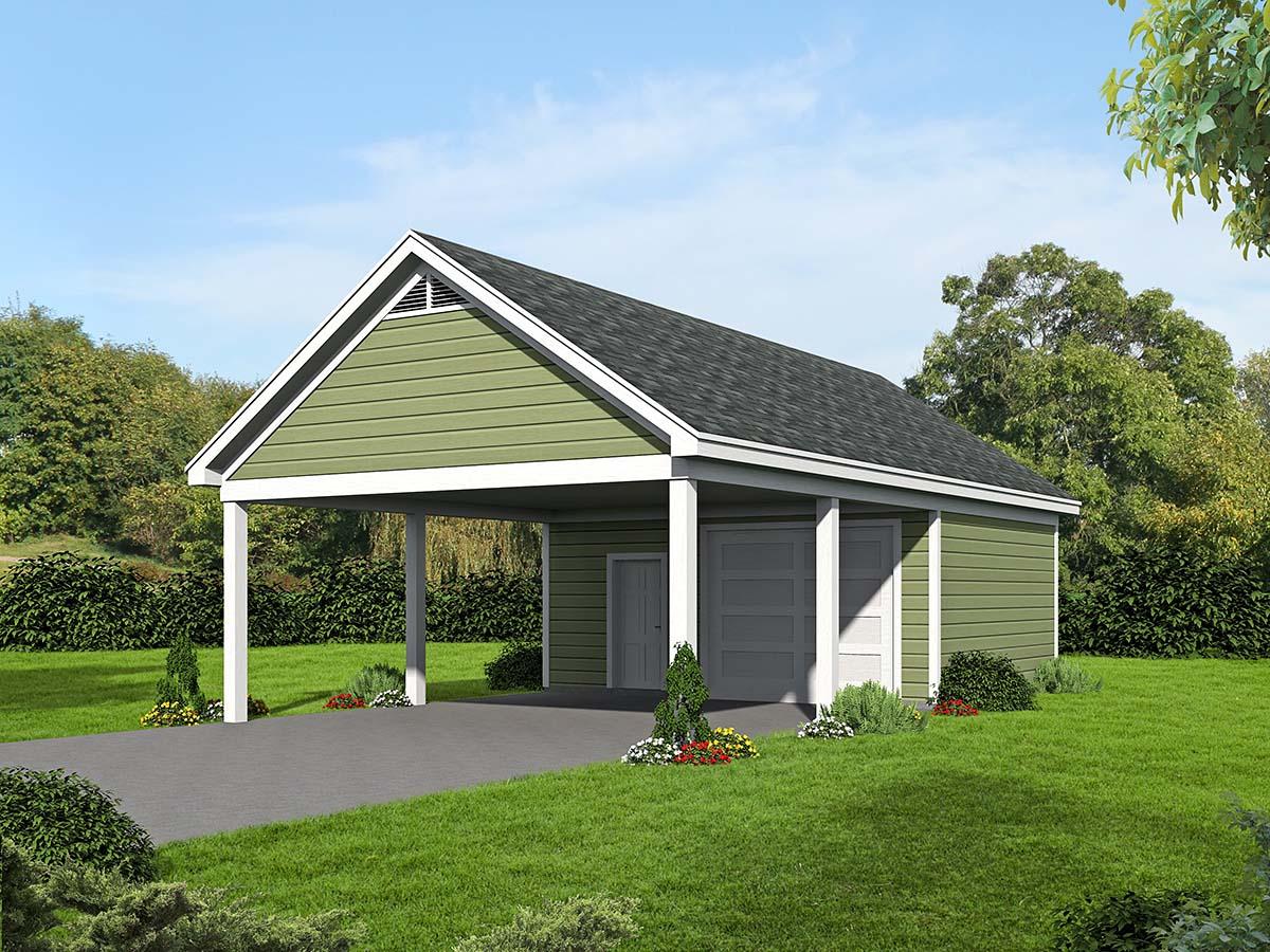 Garage plan 51536 at for Carport workshop plans