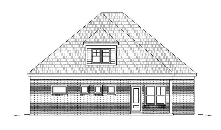 Southern Traditional House Plan 51540 Rear Elevation