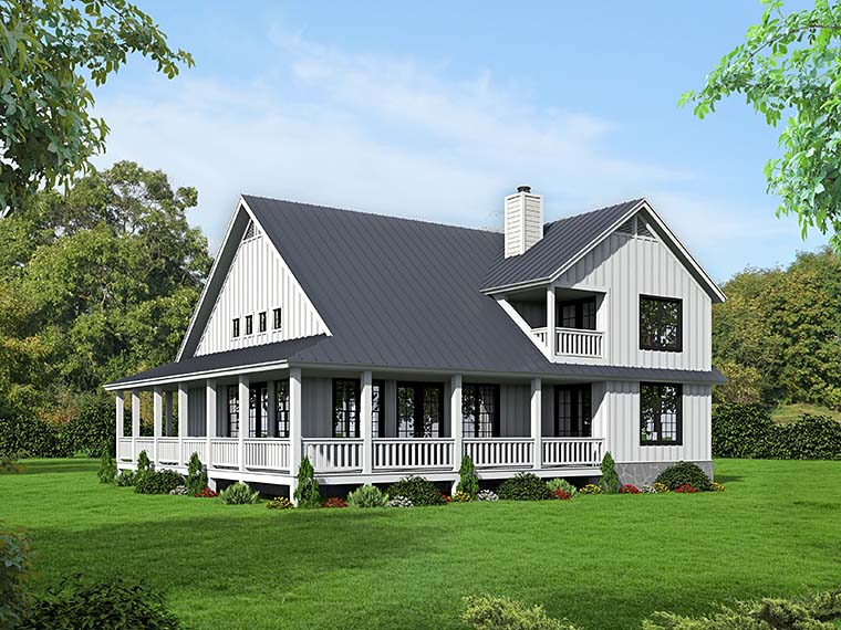 Cabin, Country, Southern, Traditional House Plan 51542 with 3 Beds, 3 Baths Picture 2