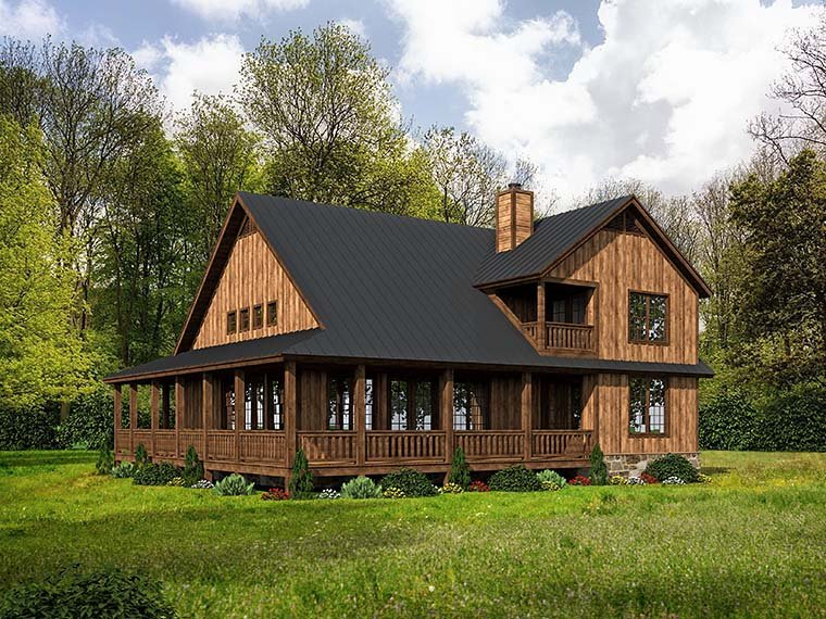 Cabin, Country, Southern, Traditional House Plan 51542 with 3 Beds, 3 Baths Picture 4