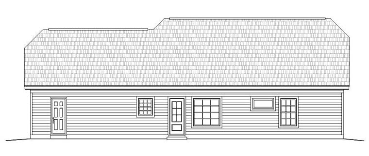 Cottage, Country, Craftsman, House Plan 51549 with 3 Beds, 2 Baths, 2 Car Garage Rear Elevation