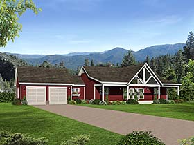 House Plan 51551 | Country Southern Traditional Style Plan with 1650 Sq Ft, 2 Bedrooms, 2 Bathrooms, 2 Car Garage Elevation