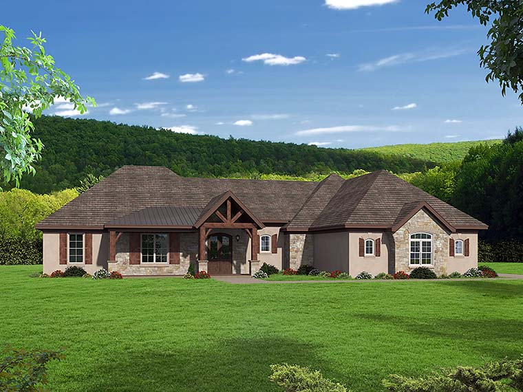 House Plan 51554 | Country European Style Plan with 2816 Sq Ft, 3 Bedrooms, 3 Bathrooms, 3 Car Garage Elevation