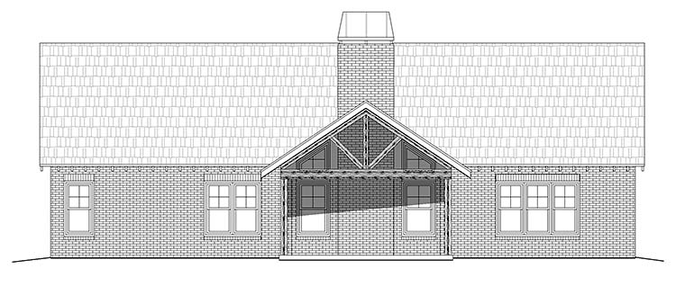 Cottage , Country , Craftsman House Plan 51556 with 3 Beds, 2 Baths, 2 Car Garage Rear Elevation