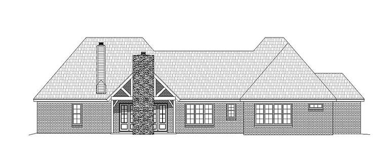 House Plan 51557 | Country European Ranch Traditional Style Plan with 2820 Sq Ft, 3 Bedrooms, 3 Bathrooms, 2 Car Garage Rear Elevation