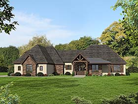 European , Traditional House Plan 51559 with 3 Beds, 3 Baths, 3 Car Garage Elevation