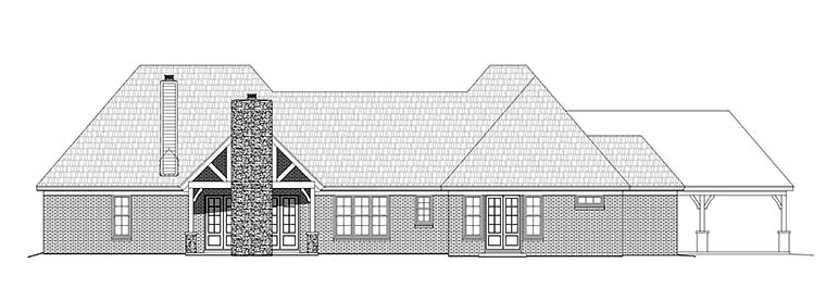 European , Traditional House Plan 51559 with 3 Beds, 3 Baths, 3 Car Garage Rear Elevation