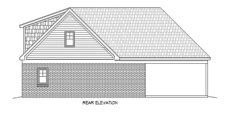 House Plan 51562 | Southern Traditional Style Plan with 2591 Sq Ft, 3 Bedrooms, 3 Bathrooms, 2 Car Garage Rear Elevation