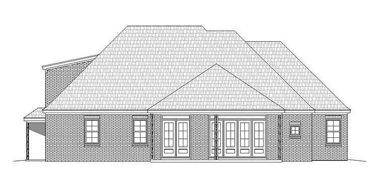 Traditional Rear Elevation of Plan 51572
