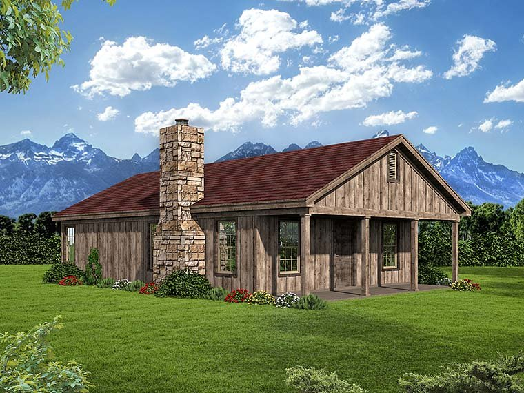House Plan 51574 | Cabin, Country, Southern Style House Plan with 1000 Sq Ft, 2 Bed, 1 Bath Elevation