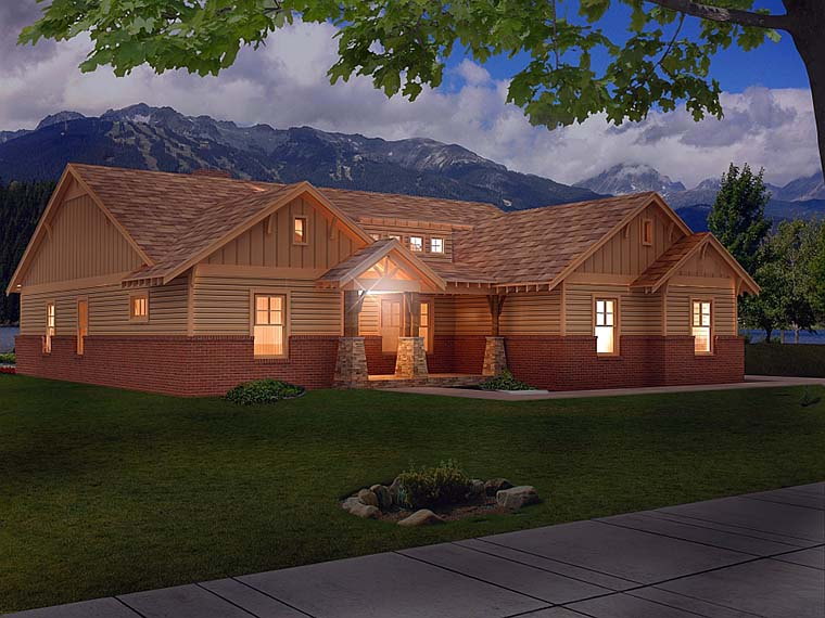 Craftsman House Plan 51575 with 4 Beds, 3 Baths, 3 Car Garage Picture 1