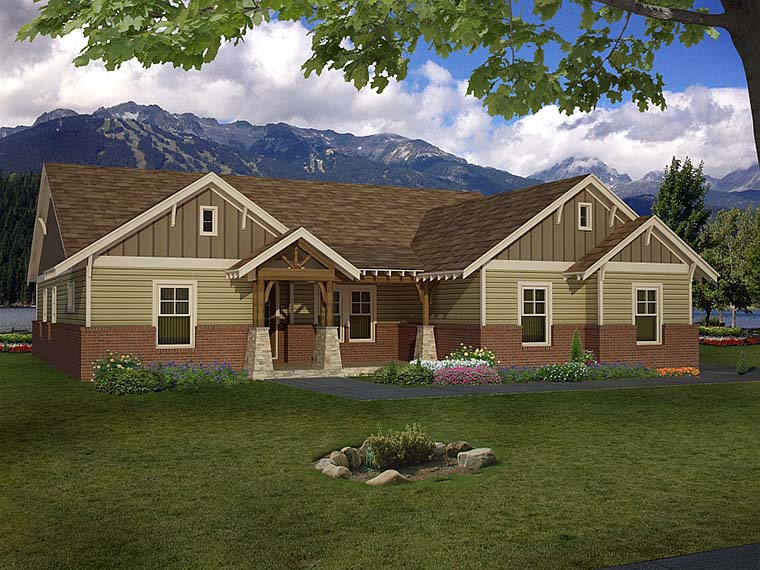 Craftsman House Plan 51575 with 4 Beds, 3 Baths, 3 Car Garage Picture 2