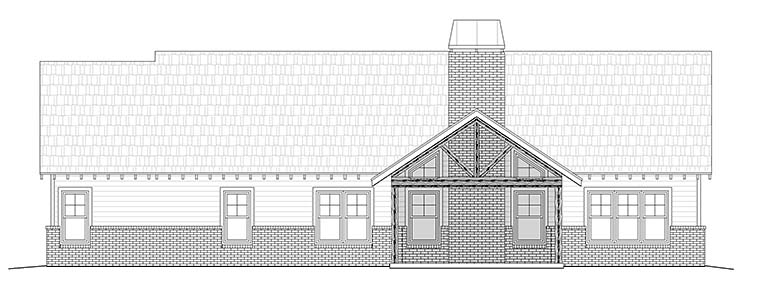 Craftsman House Plan 51575 with 4 Beds, 3 Baths, 3 Car Garage Rear Elevation