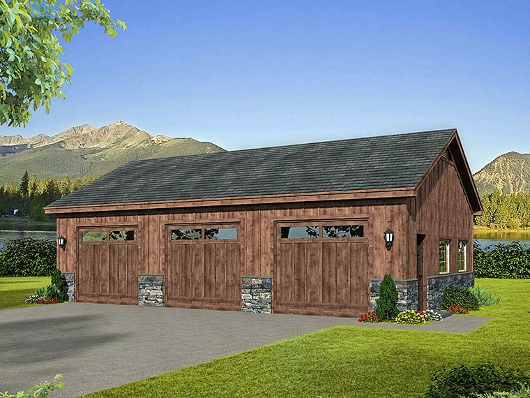 3 Car Garage Plan 51579 Elevation