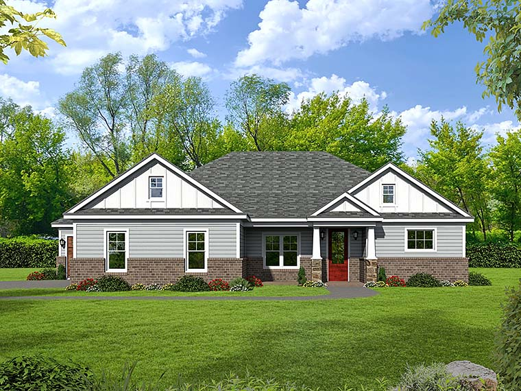 Country, Craftsman, Ranch House Plan 51581 with 3 Beds, 3 Baths Elevation