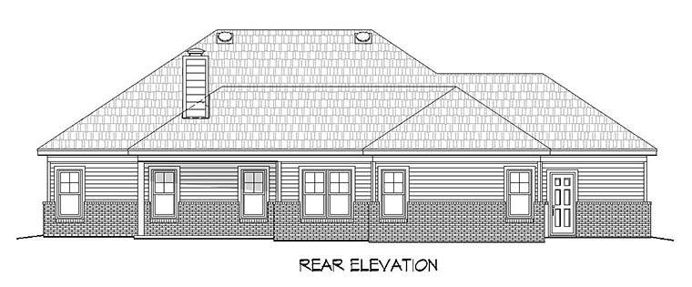 Country, Craftsman, Ranch House Plan 51581 with 3 Beds, 3 Baths Rear Elevation