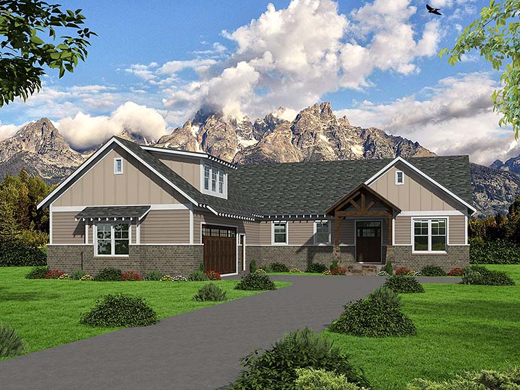 Craftsman , Traditional House Plan 51585 with 3 Beds, 2 Baths, 2 Car Garage Elevation