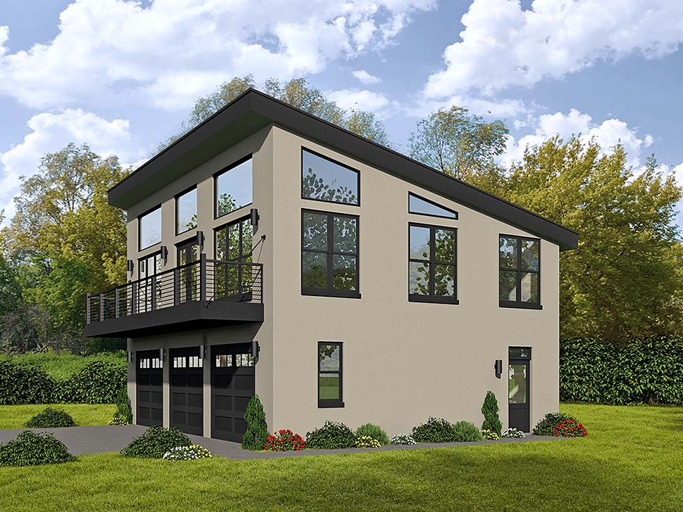 Modern 3 Car Garage Apartment Plan 51589 with 1 Beds, 2 Baths Elevation