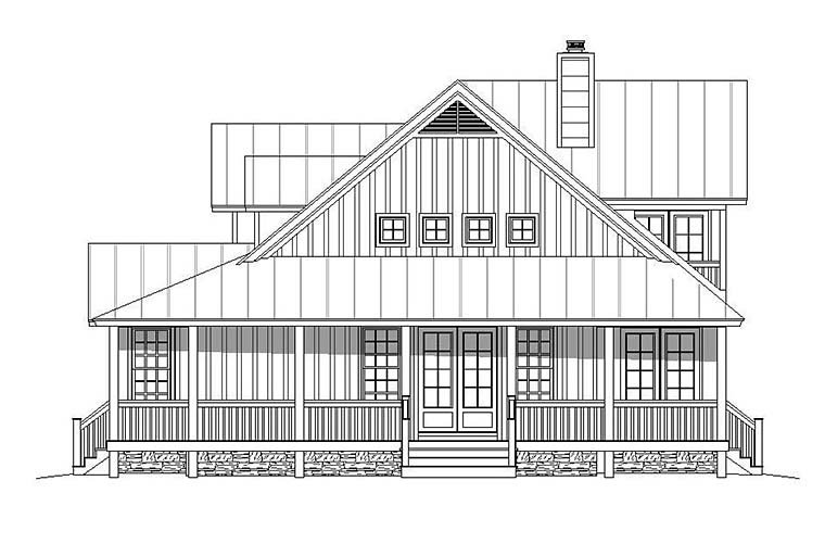 Country, Farmhouse, Southern House Plan 51593 with 3 Beds, 3 Baths, 2 Car Garage Picture 1