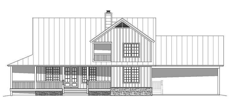 House Plan 51593 | Country Farmhouse Southern Style Plan with 2229 Sq Ft, 3 Bedrooms, 3 Bathrooms, 2 Car Garage Rear Elevation