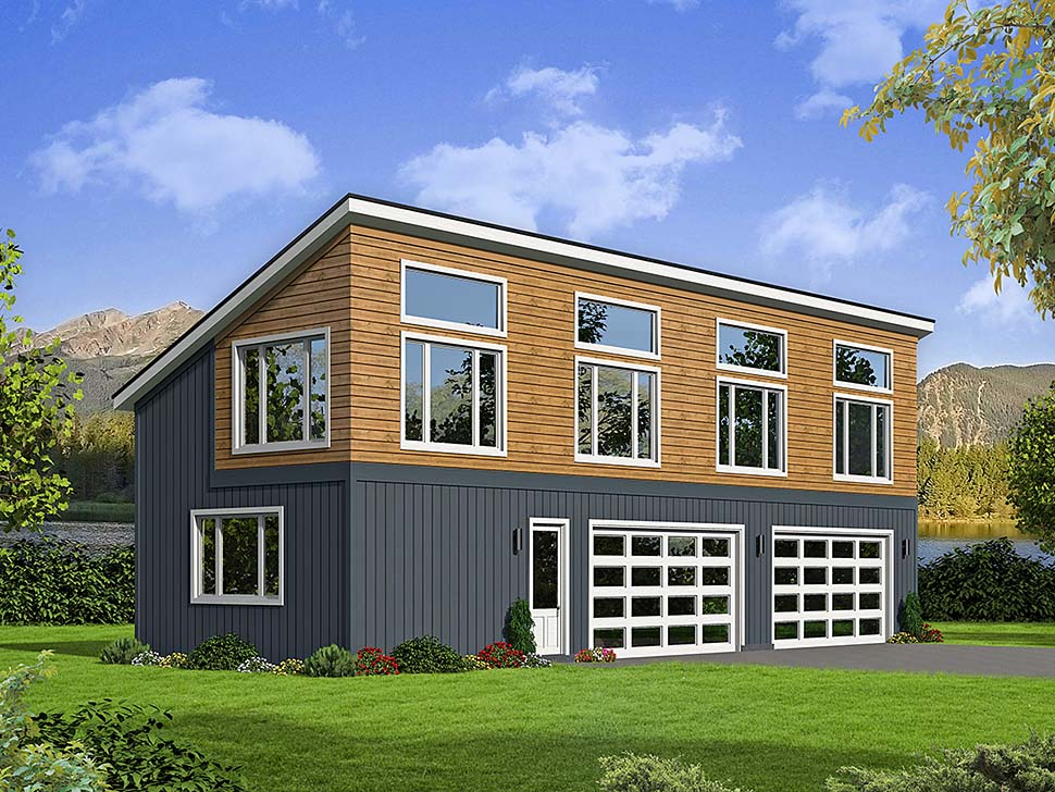 Modern 4 Car Garage Plan 51596 Elevation