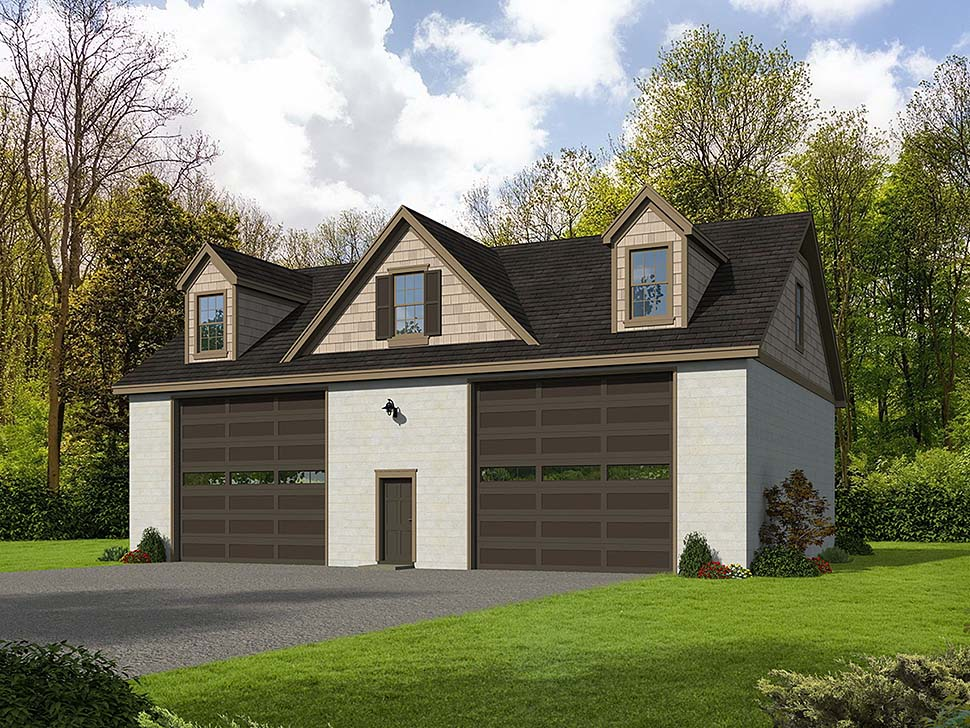 Traditional 4 Car Garage Plan 51598, RV Storage Elevation