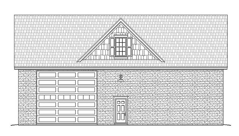Traditional 4 Car Garage Plan 51598, RV Storage Rear Elevation