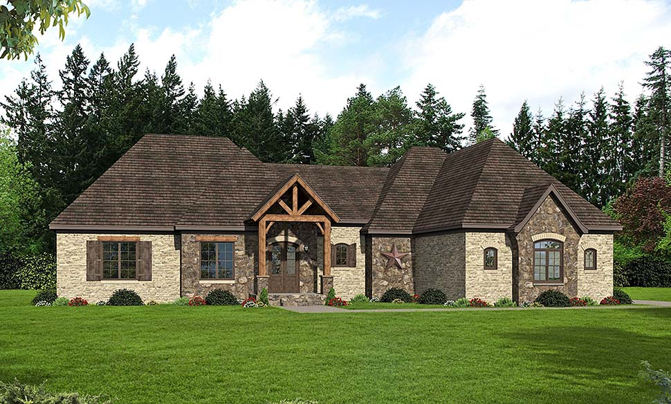 European, French Country House Plan 51602 with 3 Beds, 3 Baths, 2 Car Garage Elevation