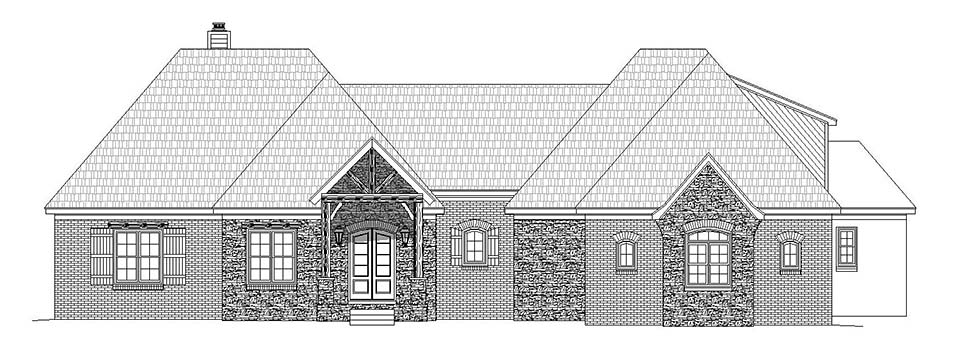 European, French Country House Plan 51602 with 3 Beds, 3 Baths, 2 Car Garage Picture 3