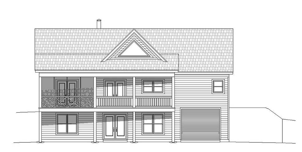 Contemporary , Country House Plan 51606 with 2 Beds, 2 Baths, 1 Car Garage Rear Elevation