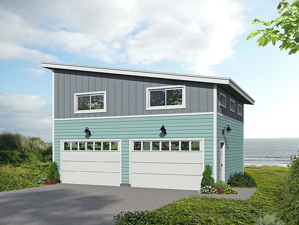 Contemporary, Modern 2 Car Garage Plan 51607 Elevation