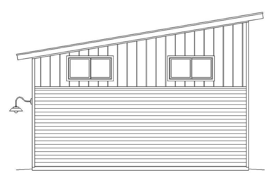 Contemporary, Modern 2 Car Garage Plan 51607 Rear Elevation