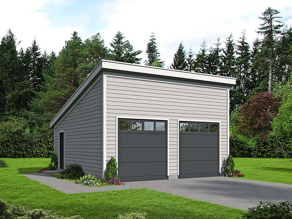 Modern 2 Car Garage Plan 51608 Elevation