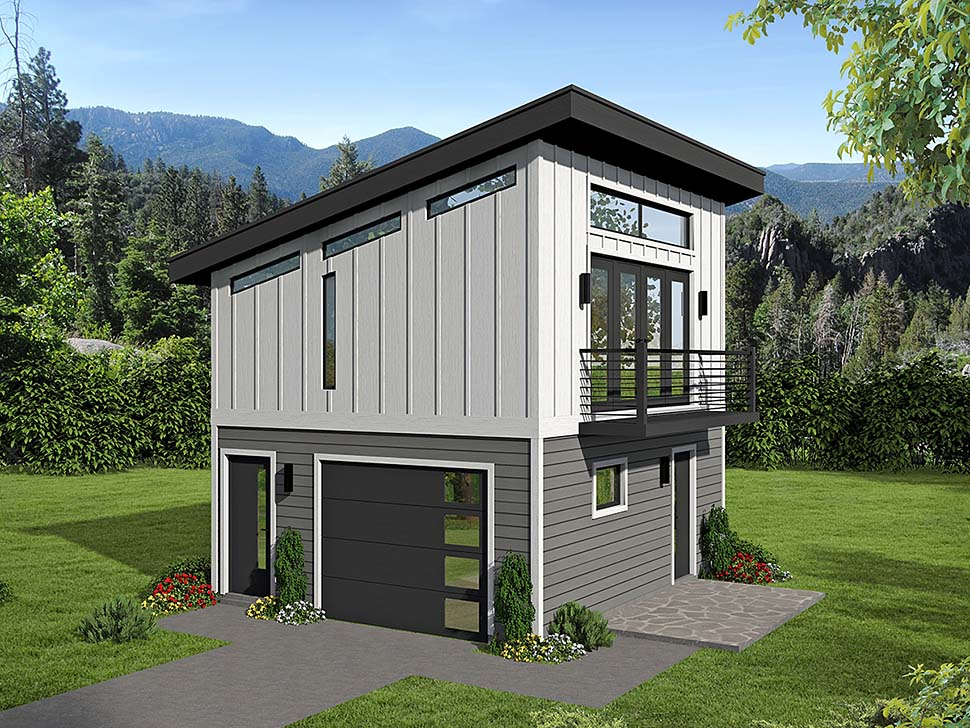 Modern 1 Car Garage Apartment Plan 51609